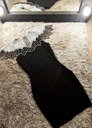 Шикарное вечернее нарядное бандажное платье черное со стразами herve leger3