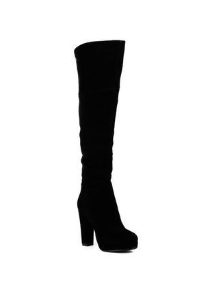 1073ц женские ботфорты brocolі,замшевые,на каблуке,на тонкой подошве,на толстом каблуке