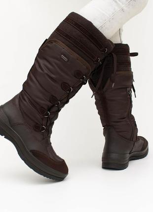 Високі зимові шкіряні утеплені чоботи geox на мембрані geox-tex 24.5 см