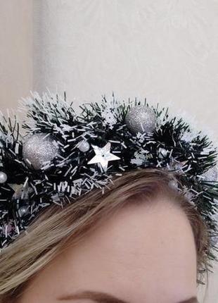 Новогодний обруч на голову венок