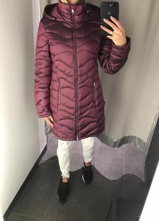 Демисезонное пальто удлиненная куртка смкапюшоном. amisu. размеры уточняйте.
