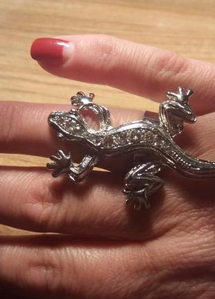 Новогодняя цена! эффектное роскошное кольцо саламандра 17+- регулируемый размер.