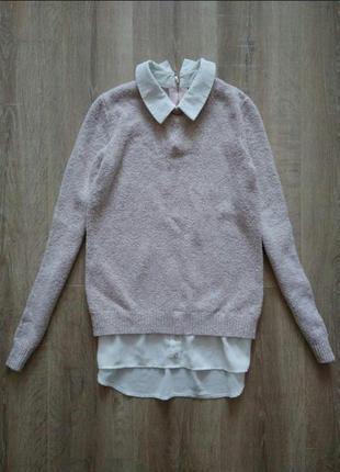 Пудровый свитер джемпер с блузой р.xs/s
