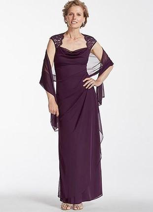 """Макси платье с драпировкой на запах и кружевным декольте цвет """"сливовый"""" разм. """"14"""""""