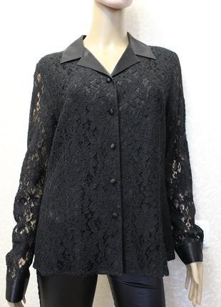 Шикарная гипюровая рубашка с атласным воротничкой