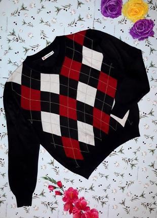 Акция 1+1=3 стильный черный в ромбик свитер, размер 52 - 54, большой размер