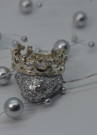 Серебряное кольцо, #корона, #королевское, #белые камни, #925 20р-р