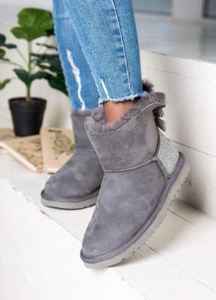 Ugg mini grey угги женские серого цвета теплые зимние натуральные