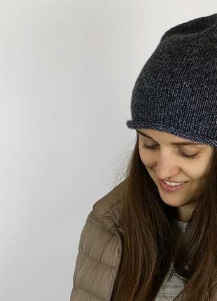 Bregoli design шапка бини женская меринос серая ручная работа