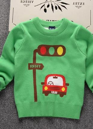 """Детский свитер с круглым вырезом """"светофор"""" зеленый"""