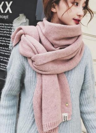 Тёплый шерстяной шарф нежно розовый длинный