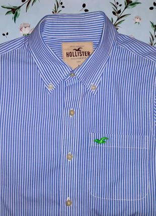 Акция 1+1=3 фирменная плотная рубашка в полоску hollister, размер 48 - 50