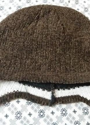 ..шапочка вязанная на флисовой подкладке .-53см        распродажа