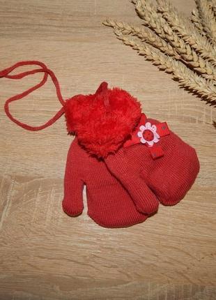 """Варежки, рукавицы для девочек """"бантик"""" на махре, размер 3-5 лет"""