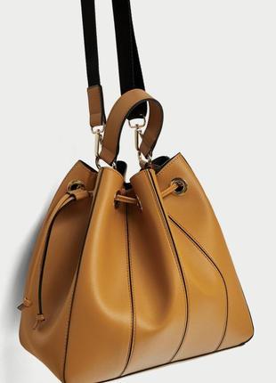 Крутая сумка мешок zara, желтого цвета