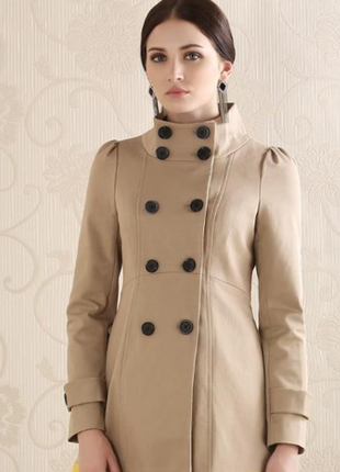Женское бежевое укороченное пальто