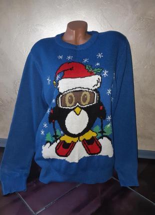 Теплый свитер с классным зимним  принтом пог 55-60см