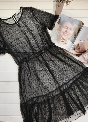 Шикарное платье сетка черное в горошек вечернее