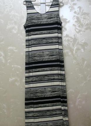 Длинное вискозное платье-майка  в полоску f&f