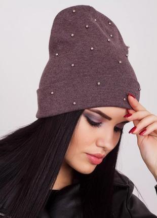 Двухслойная женская шапка с мелкими бусинами,  какао
