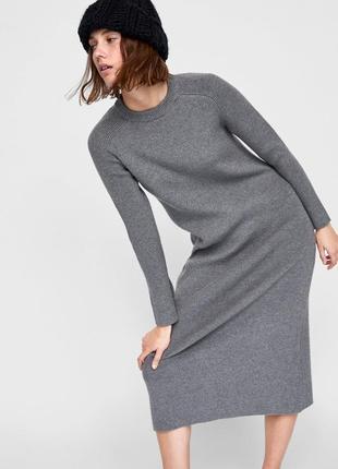 Длинное трикотажное платье от zara