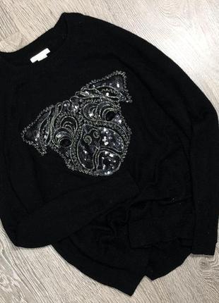 Тёплый свитер в стиле оверсайз  с крутым принтом