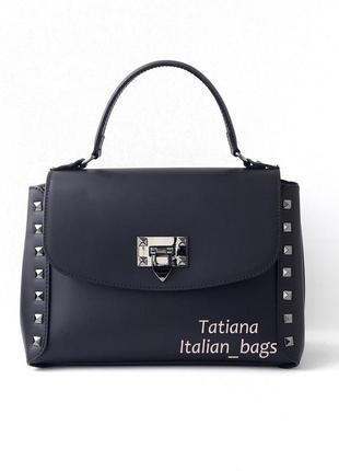 Новинка. стильная кожаная сумка с заклепками, черная. италия