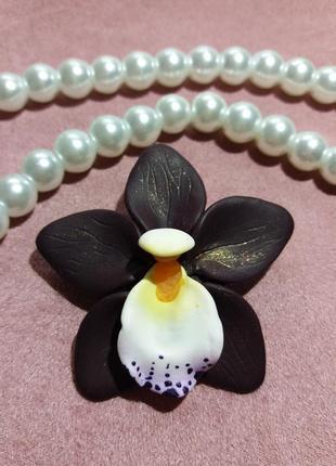 Брошь орхидея из полимерной глины