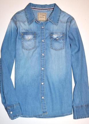Next коллекция 2016 года джинсовая рубашка на девочку 10 лет. рост 140 см.