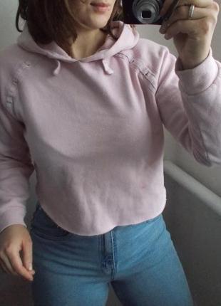 Укороченное худи new look розовое худи укороченый свитшот