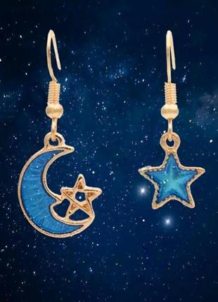 Романтичные серьги луна со звездой