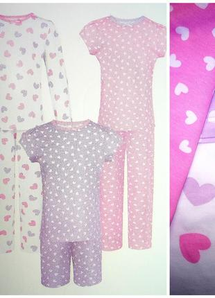 Хлопковая пижама , комплект 3 шт., george, 116- 122, упаковка