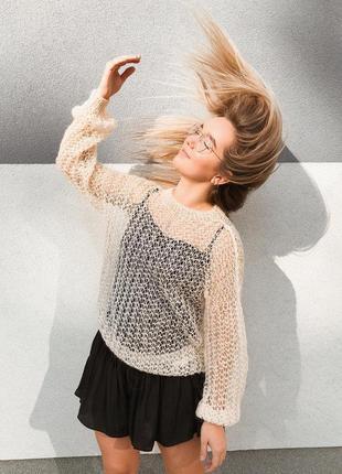 Стильный свитер-паутинка в цвете топлёное молоко♥оверсайз♥