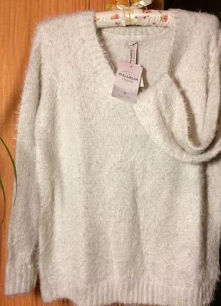 Нежный и теплый свитер-травка pull&bear молочного цвета