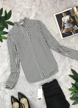 Коттоновая рубашка в полоску с воротником стоечкой  bl1849130 h&m