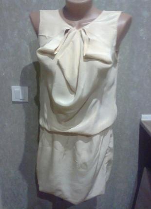 Шелковое платье молочного цвета   бренд maje