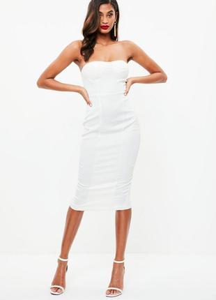 Кремова атласна сукня міді missguided❤️
