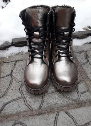 Ботинки кожаные сапоги зимние берцы 36-41размеры