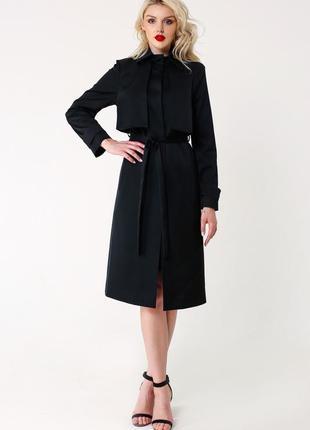 Брендовый черный плащ тренч с поясом и карманами karen by simonsen lyocell этикетка