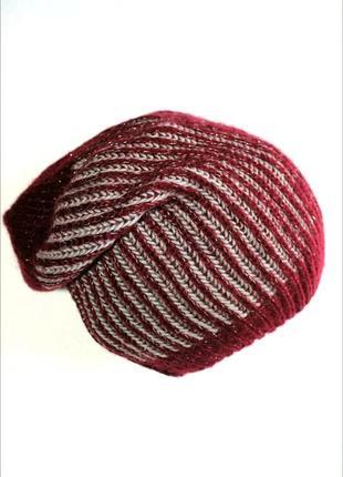 Мягенькая теплая мерцающая шапка бини, марсала с блеском, takko fashion. 8-15+ лет