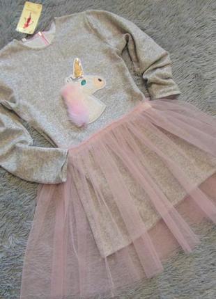 Платье - трансформер с единорожком на рост 122