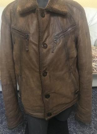 Дубленка-куртка зимняя, кожаная, эксклюзив из турции