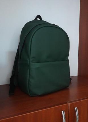 Женский рюкзак зелёный для путешествий с экокожи