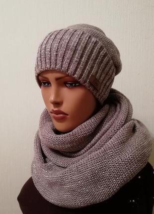Стильный комплект шапка и шарф хомут восьмерка капучино
