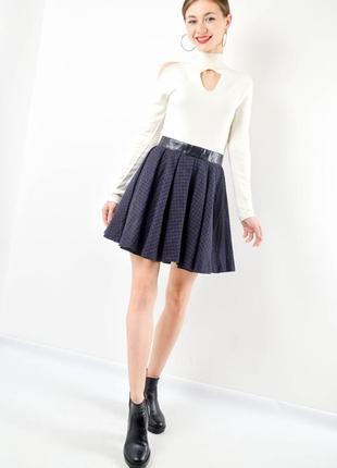 Topshop мини юбка со складками с примесью шерсти, плиссированная темная спідниця