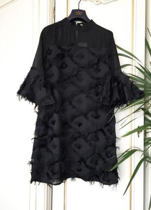 Нарядное платье рыбка с бахромой шифон люрекс гламур s/m/l черное