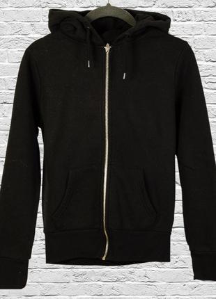 Черная толстовка с капюшоном, черное худи с замком и карманами