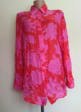 Изысканная яркая рубашка блуза 100% натуральный шелк strenesse р. 40