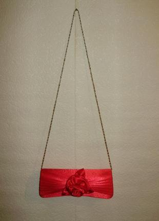 Распродажа розовый атласный клатч с розой на цепочке