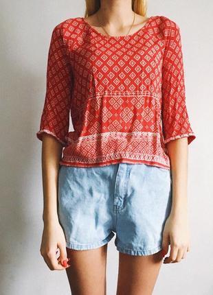 Красная блуза с вышивкой от new look